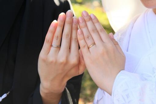 手を添えて指輪を披露する新郎新婦