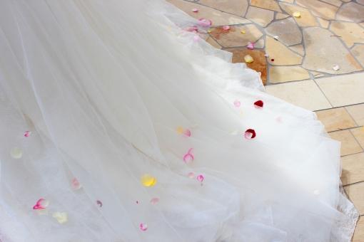 フラワーシャワーのかかったウエディングドレス