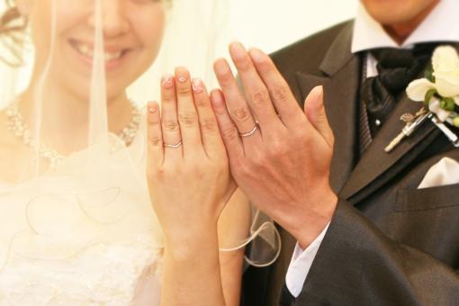 指輪を披露する新郎新婦