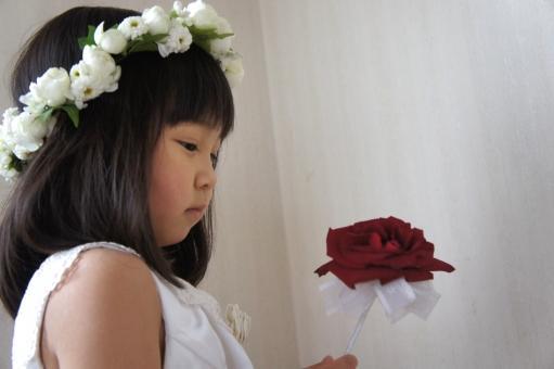 花かんむりを付けお花を見つめる女の子