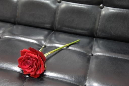 挙式会場の席に置かれた一輪の赤いバラ