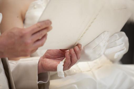 人前式にて誓いの言葉台紙をもつ新郎新婦の手