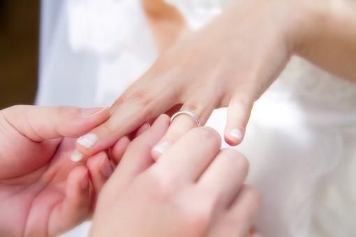 新婦へ指輪を贈る新郎