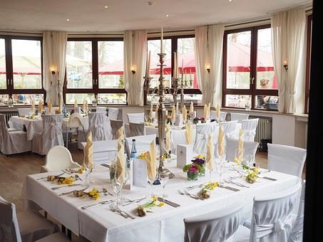結婚式のテーブル, ボールルーム, ホール, 結婚式の装飾, 結婚式, 祝祭