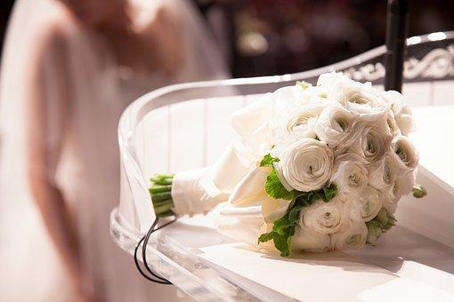 花, ホワイト, 花弁, ブルーム, 庭, 植物, 自然, 秋, 結婚式, 花束